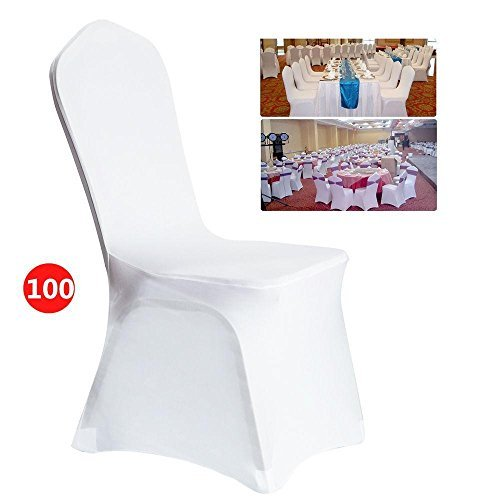 Rapesee 100 PCS White Spandex Chair Covers for Wedding Supply Party Banquet Decoration]()