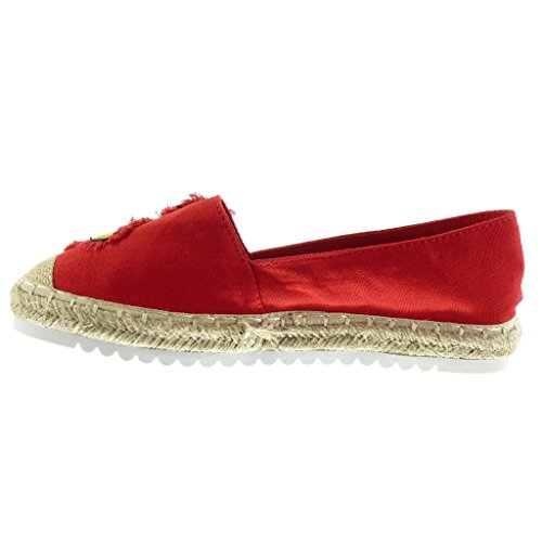 Angkorly - Chaussure Mode Espadrille Mocassin slip-on semelle basket femme fantaisie brodé corde Talon plat 2.5 CM - Rouge