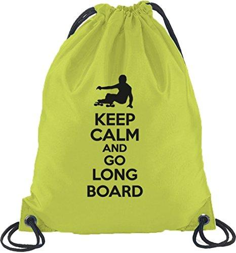 Keep Calm And Go Longboard, Skateboard Turnbeutel Rucksack Sport Beutel Limone