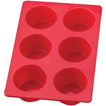 Mrs. Anderson's Baking Silicone 6-Cup Jumbo Muffin Pan Baking Mold, BPA Free, Non-Stick European-Grade Silicone, 11 x 7.5 x 2-Inches