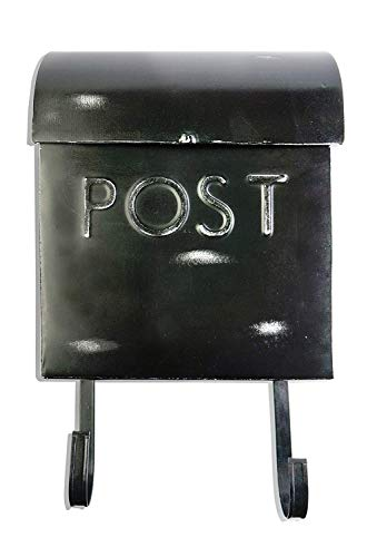 (NACH TH-10016 Wall Mounted Euro Aged Rustic Mailbox with Newspaper Holder, Black, 12 x 11.2 x 4.5 Inches)