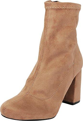 (Cambridge Select Women's Closed Round Toe Stretch Fabric Sock Chunky Block Heel Ankle Bootie,9 B(M) US,Taupe IMSU)