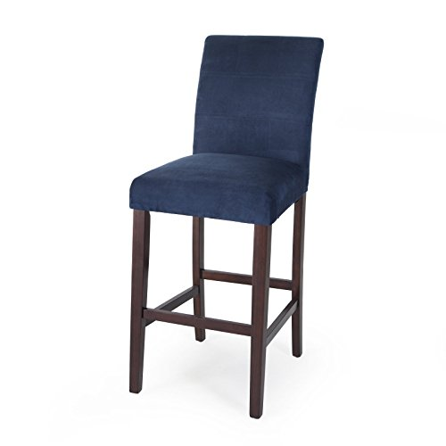 Set Stools Bar Parson - Home Direct Navy Blue Contemporary Classic Set of 2 Microfiber Upholstered Bar Stools 30