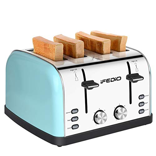 iFedio 4 Slice Extra Wide Slots Stainless Steel with BAGEL CANCEL DEFROST Function for Breakfast,Bread Kitchen Compact…