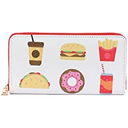 Fast Food Print Zip Around Wallet Clutch Purse Taco Coffee Donut
