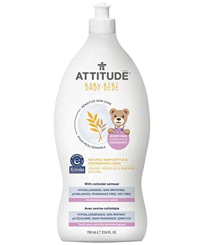 ATTITUDE Sensitive Skin, Hypoallergenic Baby Bottle & Dishwashing Liquid, Fragrance Free, 23.6 Fluid Ounce