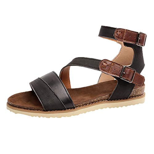 Claystyle Womens Cross Belt Flip Flop Strap Flat Sandals Beach Shoes(Black,US: 6.5)