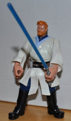 Star Wars Jedi Force Obi Wan & Blue Lightsaber (Retired) - Hasbro Playskool Action Figure Non Violent Doll Toy Rescue Heroes Style