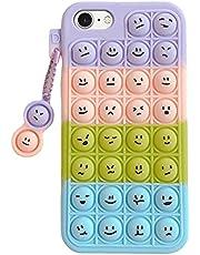 JAWSEU iPhone 6 skal pop fidget, iPhone 6 skal silikon TPU söta bubbelfioler leksaker telefonfodral, färgglad söt poppande bubbla fidget leksak söt skyddande fodral för iPhone 6/7/8/SE