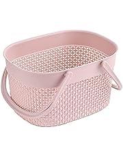 MEYYY Grundläggande förvaringskorg, liten plastbadkorg för dusch- och skötseltillbehör, rosa