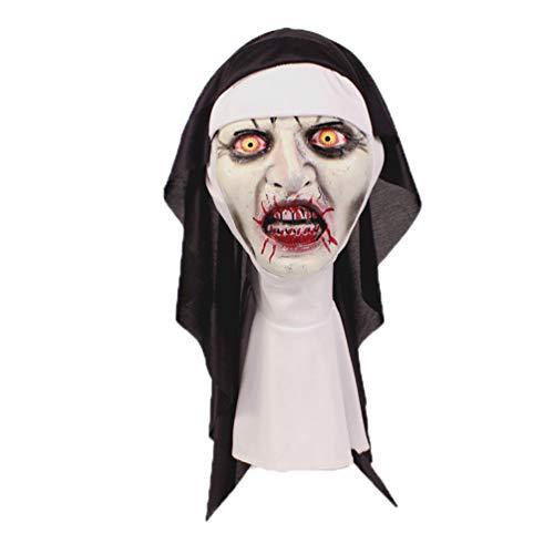 Halloween Horror Nun Latex Deluxe 3D Mask Film Prop