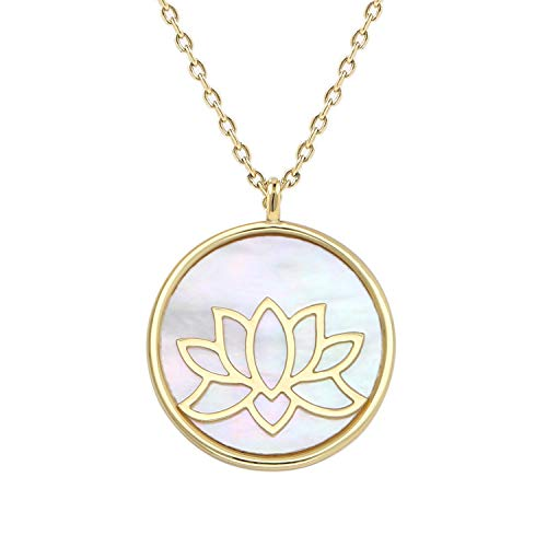 (Lancharmed Reversible Lotus Flower Pendant Mother of Pearl Necklace Yoga Zen Round Disc Necklaces Buddhist Meditation Spiritual Wrap Gift for Girls Women &Teens (14K)