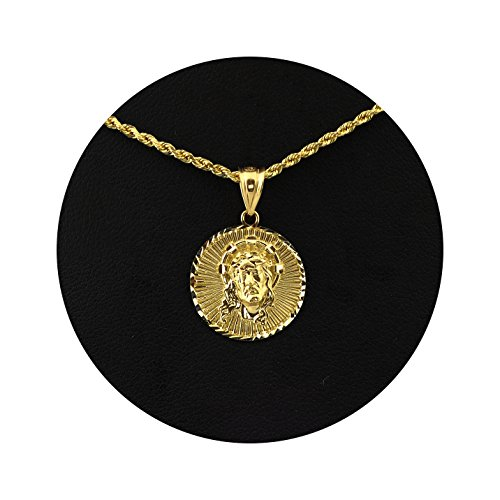 LoveBling 10K Yellow Gold Jesus Head Medallion Diamond Cut Charm Pendant (0.93