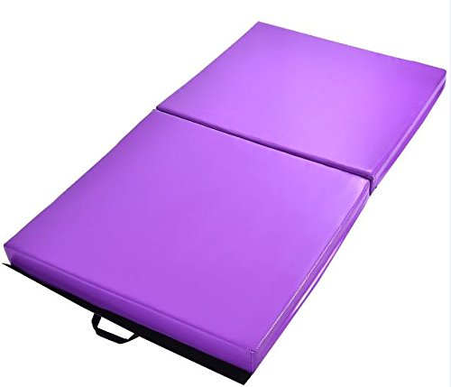 "K&A Company Gymnastics Mat Thick Two Folding Panel Fitness Exercise Purple New Gym 6' x 38"" x 4''"