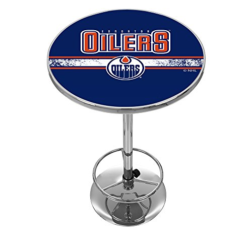 Edmonton Oilers Pub Table - Trademark Gameroom NHL Edmonton Oilers Chrome Pub Table