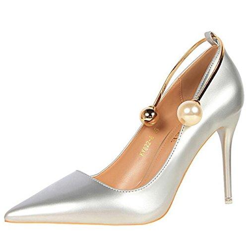 Mashiaoyi Damen Spitze-Zehe Stiletto ohne Verschluss Wulstig Pumps Silber