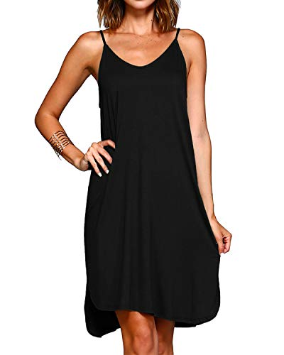 BBYES Women's Summer Spaghetti Strap Sundress Sleeveless Short Mini Beach Dress Black L