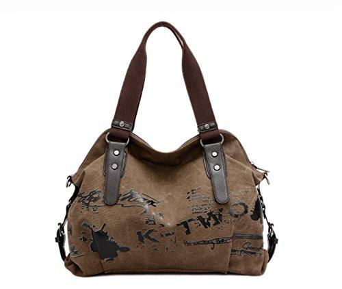 - Women Bags Casual Vintage Hobo Canvas Mulit-Pocket Daily Purse Top Handle Shoulder Tote Shopper Handbags