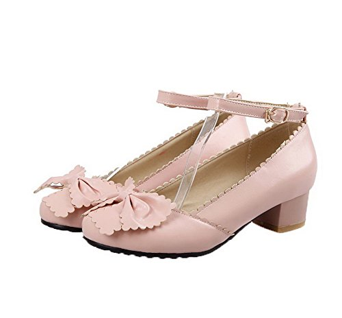 Women Shoes Mini Rose Aalardom Buckle Closed Heel Pu Solid Toe UYdqz6