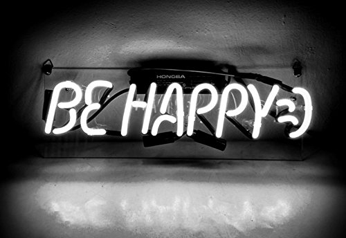 Cool Neon Sign Be Happy for Girls Bedroom Beer Bar Garage Windows Game Room 14 x 8'