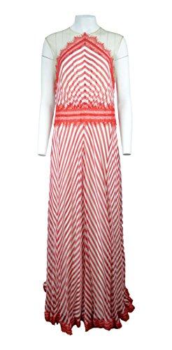Tadashi Shoji Women's Chevron Chiffon Illusion Cap Sleeve Gown,Red (Tadashi Pleated Dress)