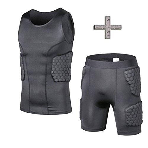 TUOY Men's Boys' Padded Compression Vest Ribs Hip and Thigh Protector for Football Paintball Basketball Rugby Soccer Hockey Baseball and All Other Contact Sports Vest&Short ()