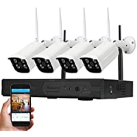 TOUGHSTY 4 Channel 1920x1080P HD Wireless NVR Kit IP Camera System for Home Security Support Smartphone Remote Viewing