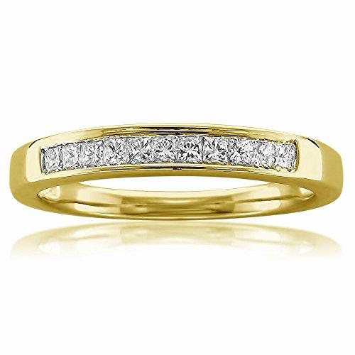 (14k Yellow Gold Princess-cut Diamond 11-stone Bridal Wedding Band Ring (1/4 cttw, J-K, SI1-SI2), Size 8.5)