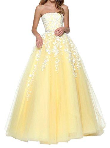 La Traegerlos Abiballkleider a Braut Linie Abendkleider Lang Spitze Abschlussballkleider Gelb Romantisch Promkleider mia pgxpF