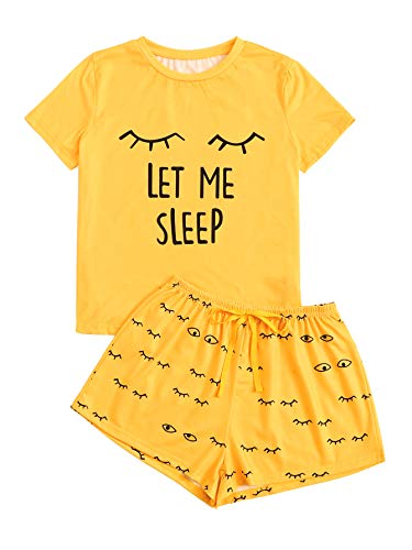 WDIRARA Women's Sleepwear Closed Eyes Print Tee and Shorts Pajama Set Yellow XS