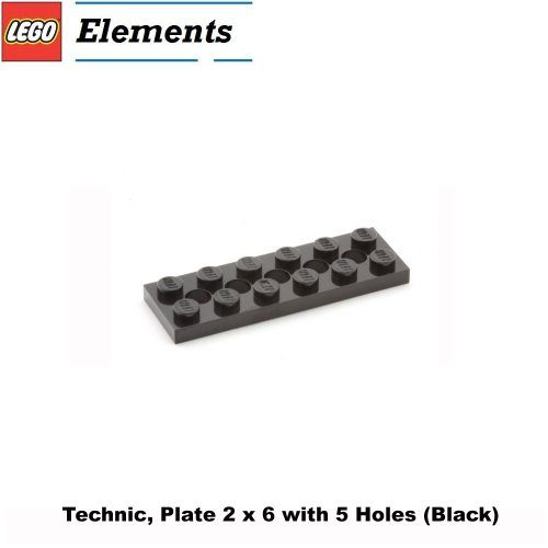 Lego Parts: Technic, Plate 2 x 6 with 5 Holes (Black) (Lego Superman Vs Power Armor Lex compare prices)
