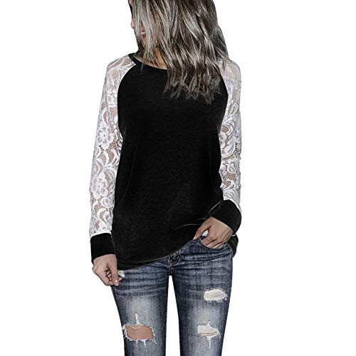 Xinantime Womens Solid Blouse Lace Floral Patchwork Long Sleeve Round Neck Sweatershirt Casual T-Shirt Blouse Tops (Black,XL)