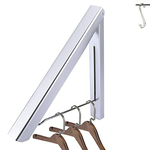 GADENT Folding Clothes Hanger, Drying Rack, Wall Mounted Retractable Clothes Rack, Aluminum, Home Storage Organiser Space Savers, Easy Installation (1 pack, with 2 hooks)