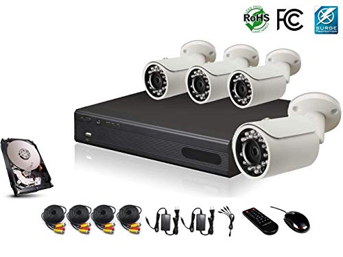 - HDView 4 Channel DVR with 1TB Hard Drive, 2.4MP 1080P HD Megapixel Security Camera Surge-Protection HD-AHD DVR Kit, 4 x 2.4MP 1080P Infrared Cameras Package System