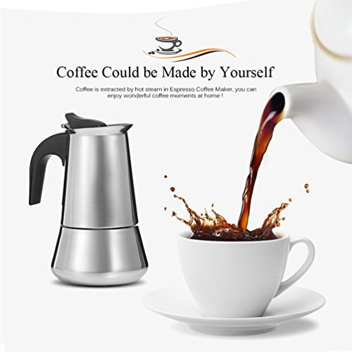 Uarter Stainless Steel Stovetop Espresso Maker Moka Coffee Pot Coffee Maker, 6 Demitasse Cup(2 oz)/300ML
