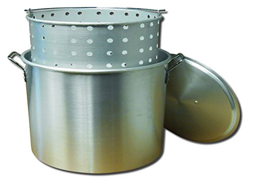 (King Kooker KK32 32-Quart Aluminum Boiling Pot with Punched Basket)