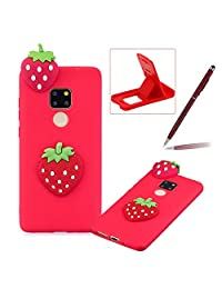 TPU Case for Huawei Mate 20 Pro,Soft Rubber Cover for Huawei Mate 20 Pro,Herzzer Ultra Slim Stylish 3D Strawberry Series Design Scratch Resistant Shock Absorbing Flexible Silicone Back Case