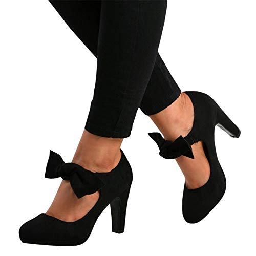 Syktkmx Womens Mary Jane Pumps High Block Heels Platform Bow Tie Knot Closed Toe Shoes ()