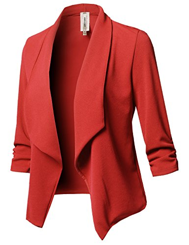 Awesome21 Solid Stretch 3/4 Gathered Sleeve Open Blazer Jacket Tomato Red Size (Red Petite Tomato)