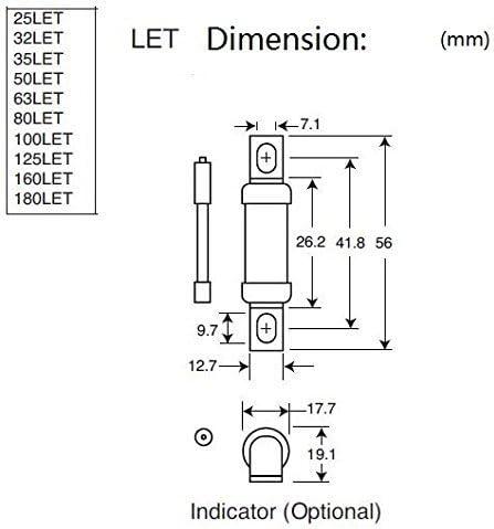 150 V//DC Flink 1 St. F Bussmann 125 LET HRC-Sicherung Schraubanschluss 125 A 240 V//AC