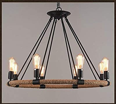FGHOME Vintage Industrial Hemp Rope Living Room Chandelier Fixtures Retro Dining Room Pendant Lamp Bedroom Personality Ceiling Pendant Amiercan Country Rustic Ceiling Pendant Lights (8 Heads)