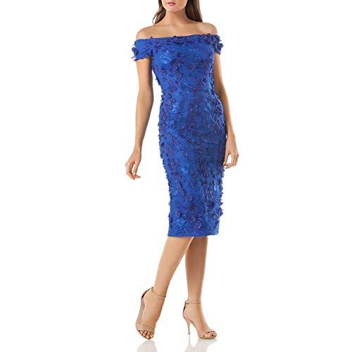 Carmen Marc Valvo Infusion Women's Off The Shoulder Novelty Dress/ 3D Flowers, Cobalt, 12