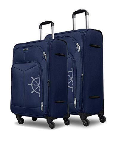 NOVEX Pack of 2 Polyester 24 Inches and 20 Inches Canyon Navy Blue Expandable Luggage