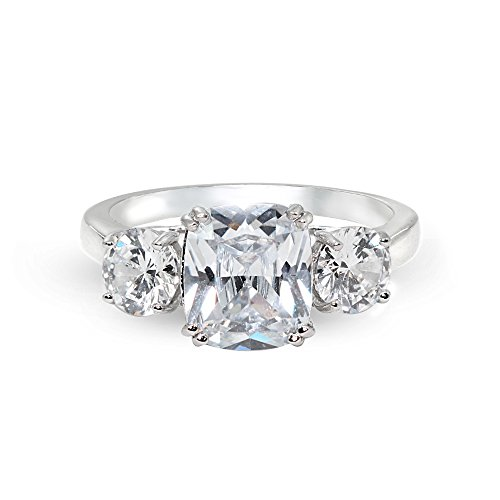 Sterling Silver Cubic Zirconia Cushion Cut 3-Stone Royal Engagement Wedding Ring, Size 6 by Hoops & Loops (Image #3)