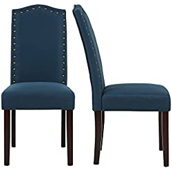 LSSBOUGHT Set of 2 Luxurious Fabric Dining Chairs with Copper Nails and Solid Wood Legs (Blue)