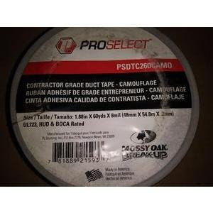 PROSELECT PSDTC260CAMO 2IN X 60YDS CONTRACTOR GRADE DUCT TAPE-CAMOUFLAGE