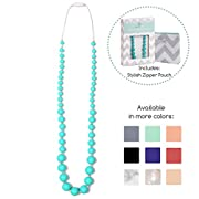 Goobie Baby Audrey Silicone Teething Necklace for Mom to Wear, Safe BPA Free Beads to Chew - Turquoise
