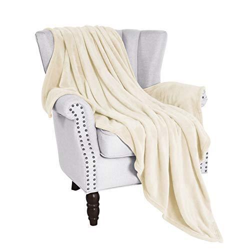 "Exclusivo Mezcla Flannel Fleece Velvet Plush Soft Throw Blanket – 50"" x 60"" (Ivory)"