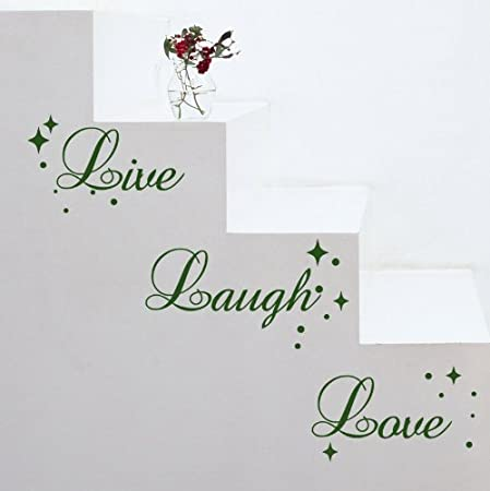 fancy writing live laugh love quote wall art vinyl sticker decal
