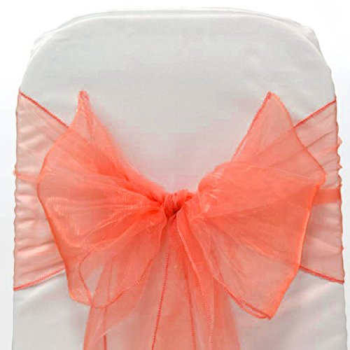 Mds Pack of 100 Organza chair sashes bow Sash for wedding and Events Supplies Party Decoration chair cover sash -coral